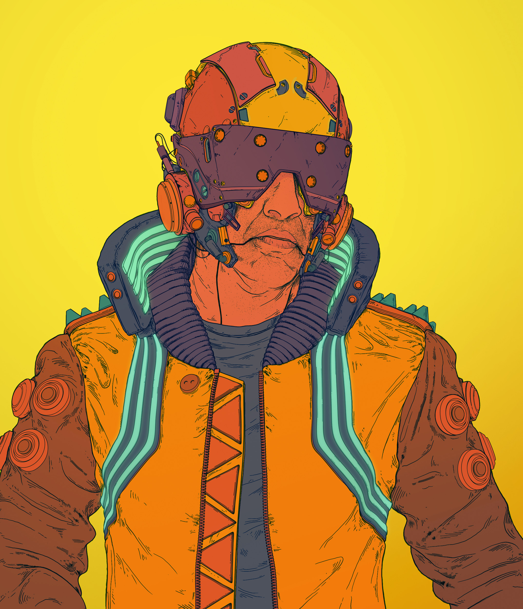 Comic style illustration from 3D renders