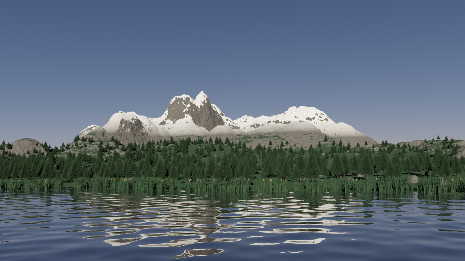 Every lake needs rushes and reeds, so I built a collection of cattail reed models and scattered them, using a weight painted vertex group to control the particle system.