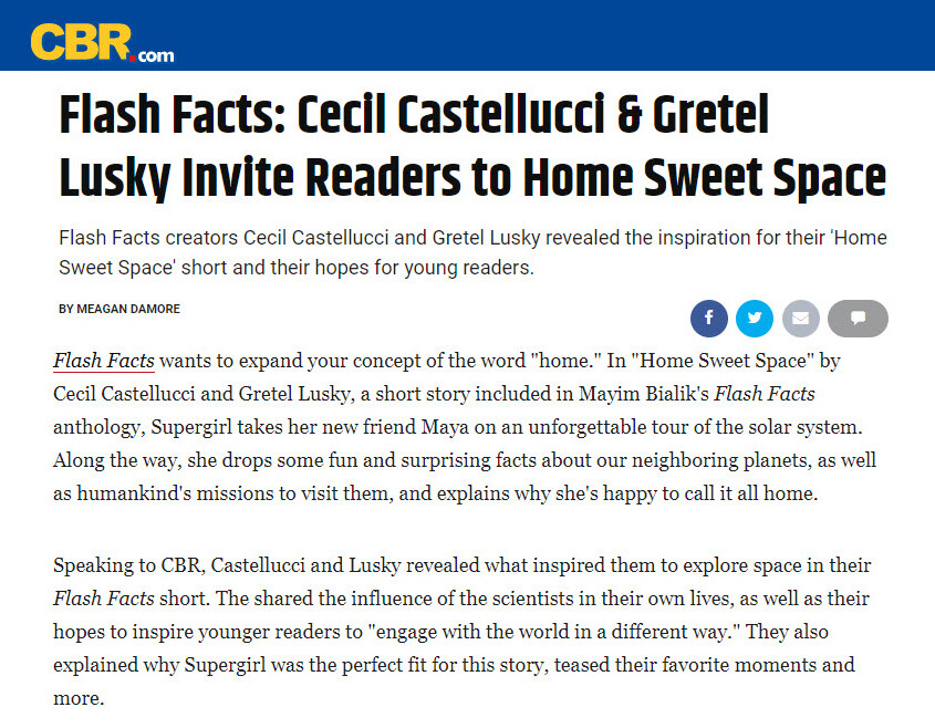 Link: https://www.cbr.com/flash-facts-cecil-castellucci-gretel-lusky-interview/?utm_content=buffer7c78c&utm_medium=Social-Distribution&utm_source=CBR-TW&utm_campaign=CBR-TW