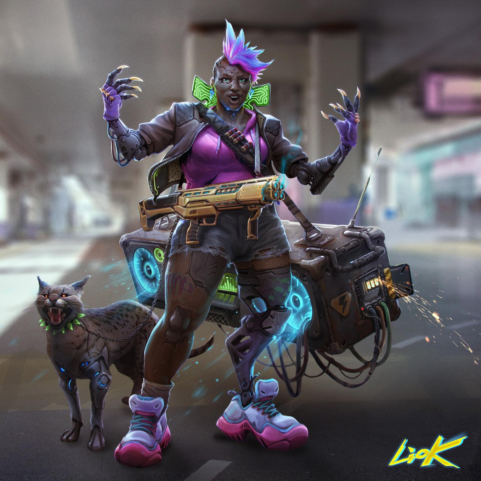 Ghetto Blaster girl, Cyberpunk 2077 challenge on digital painitng school.