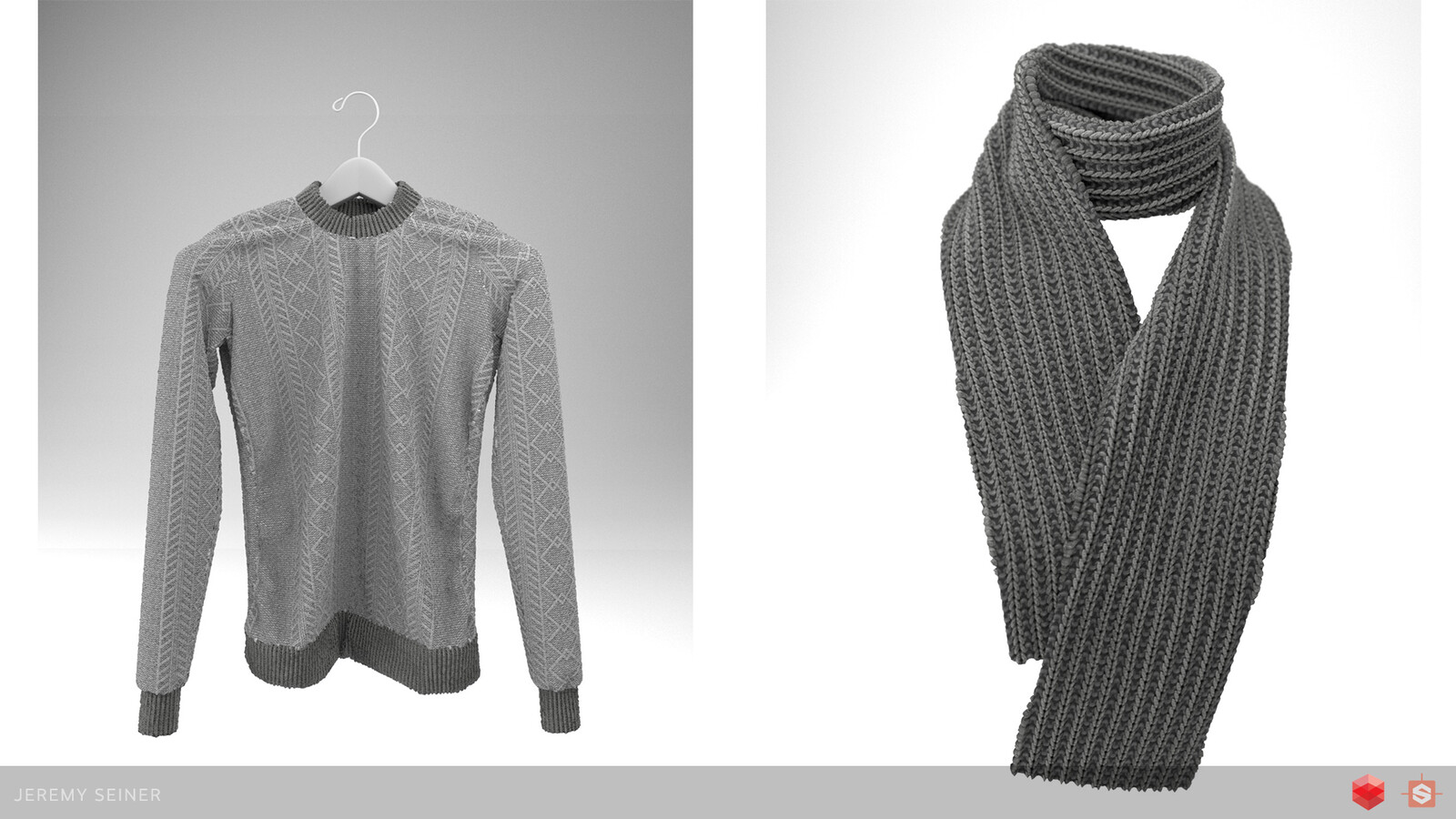 A couple variations of the fabric material applied to a sweater and scarf. Clothing assets made in Marvelous Designer.