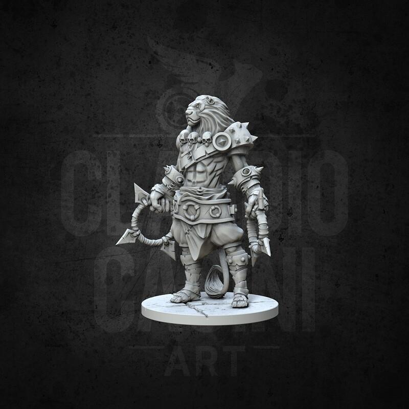 RPG BG Fantasy Character, Male, Lionfolk Monk STL