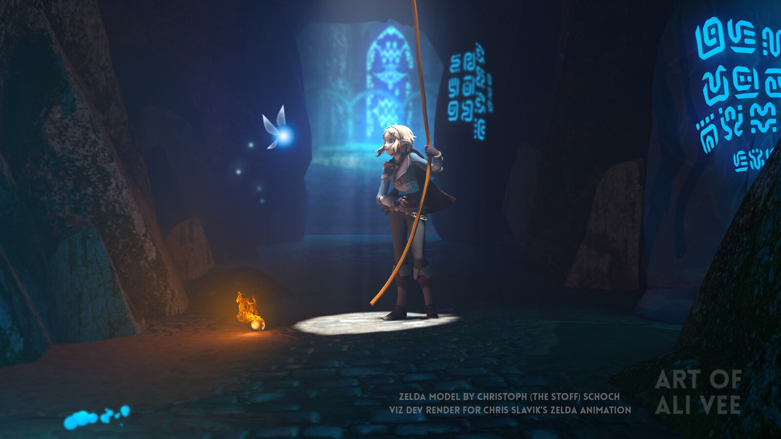 My visual development work texturing and lighting a Zelda scene for a quick 10 second animation (Maya and Vray) Zelda character is made by Christoph (The Stoff) Schoch