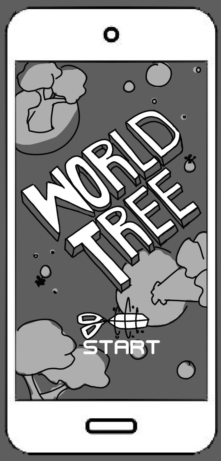 Start screen for World Tree, a tree pruning game where the Tree is as big as a planet