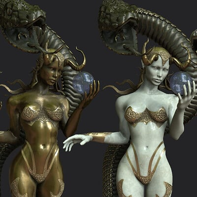 Ginger chevalier women snake protector statue