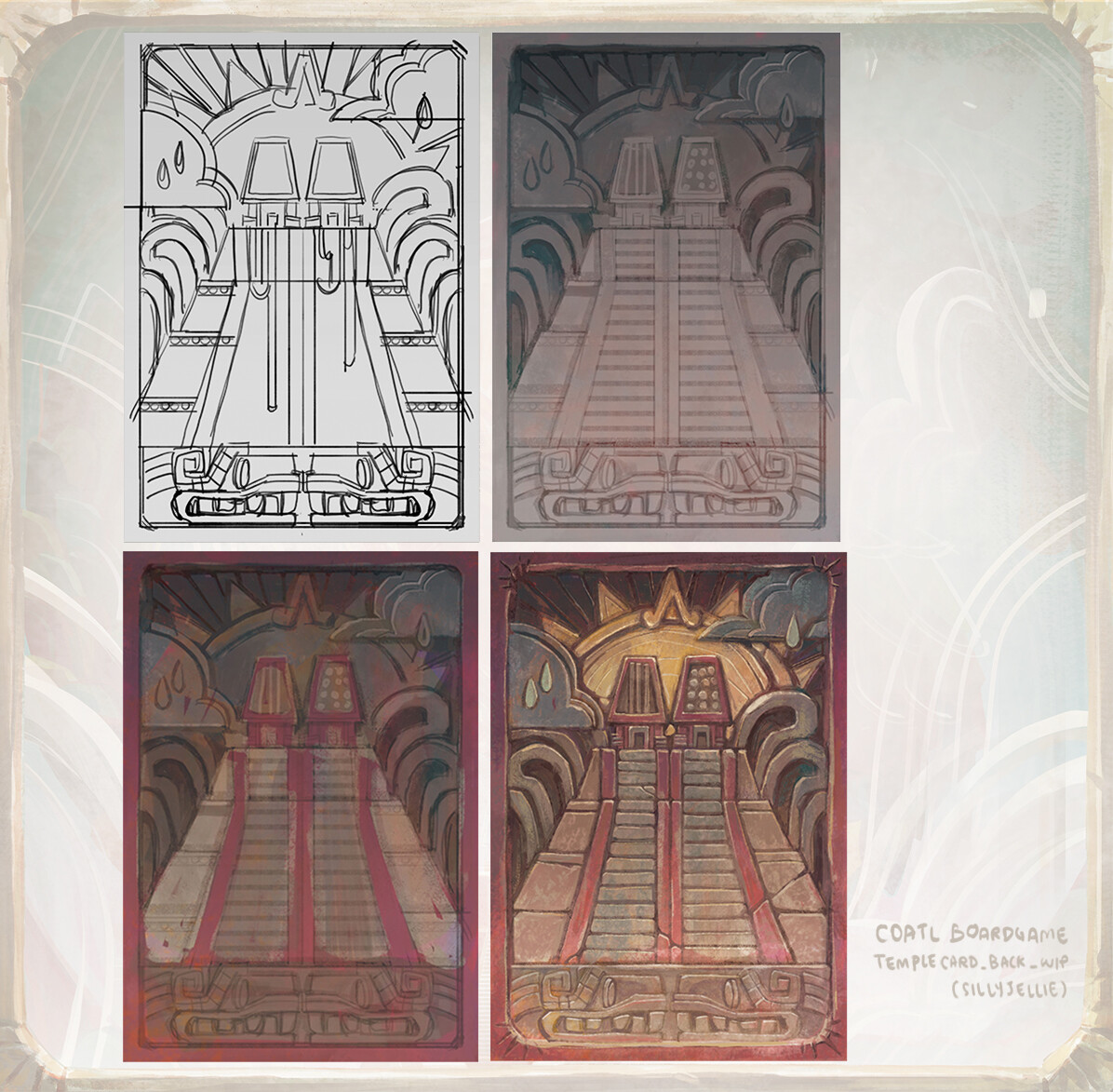 Back of temple card.  The temple is dedicated to the sun god Huitzilopochtli and water god Tlaloc.