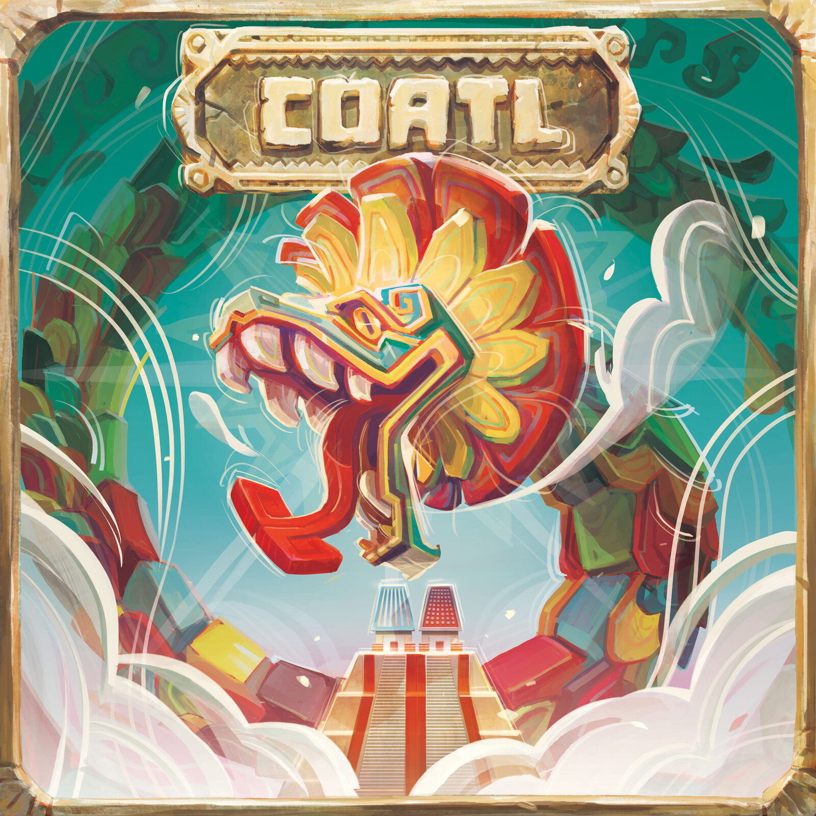 Box cover art, featuring the feathered serpent, or Coatl striding majestically over the city of Tenochtitlan.