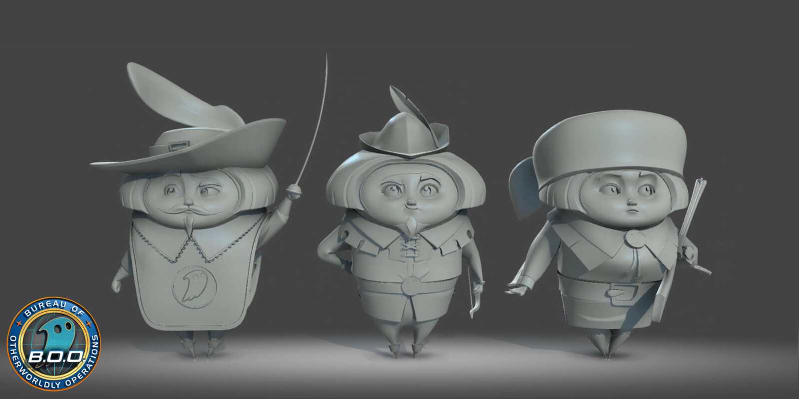 Concept sculpts of historical statues for the cancelled project B.O.O. (C. 2013). Character design by Carlos Grangel and Devin Crane.