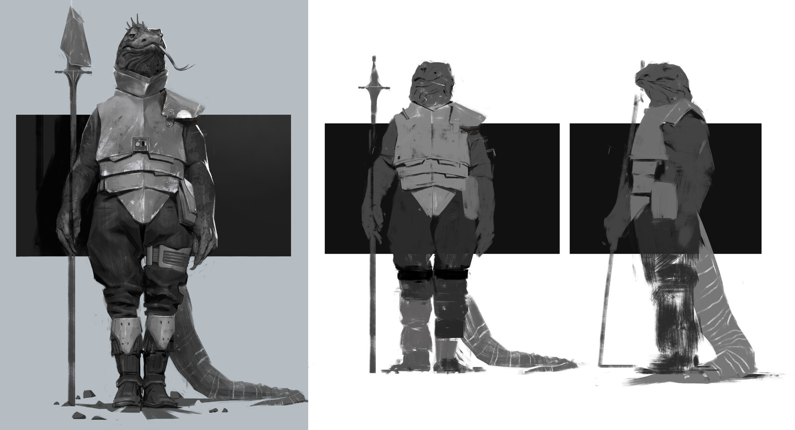 Some early thumbs and a final greyscale.