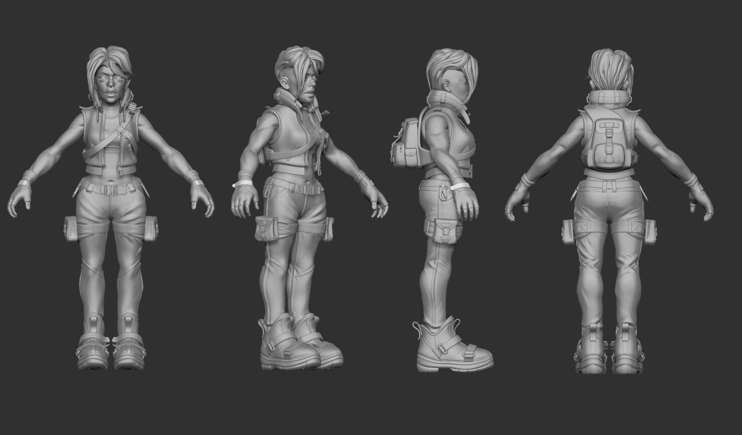 High Poly Blender and ZBrush sculpt including clothing (eventually didn't include the pouches).