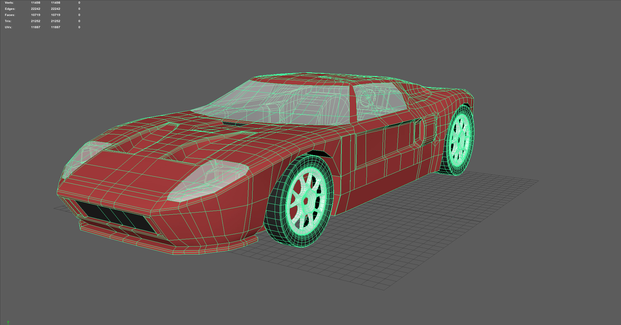 After completing the low poly exterior, I applied some basic materials and exported the low poly model as an fbx.