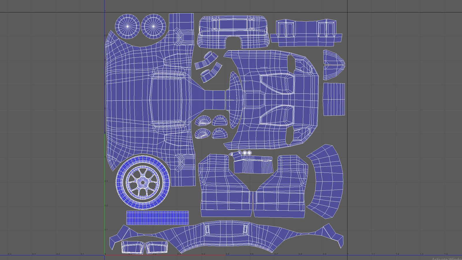 After creating the UV map, I exported the layout to use for texturing in Photoshop.
