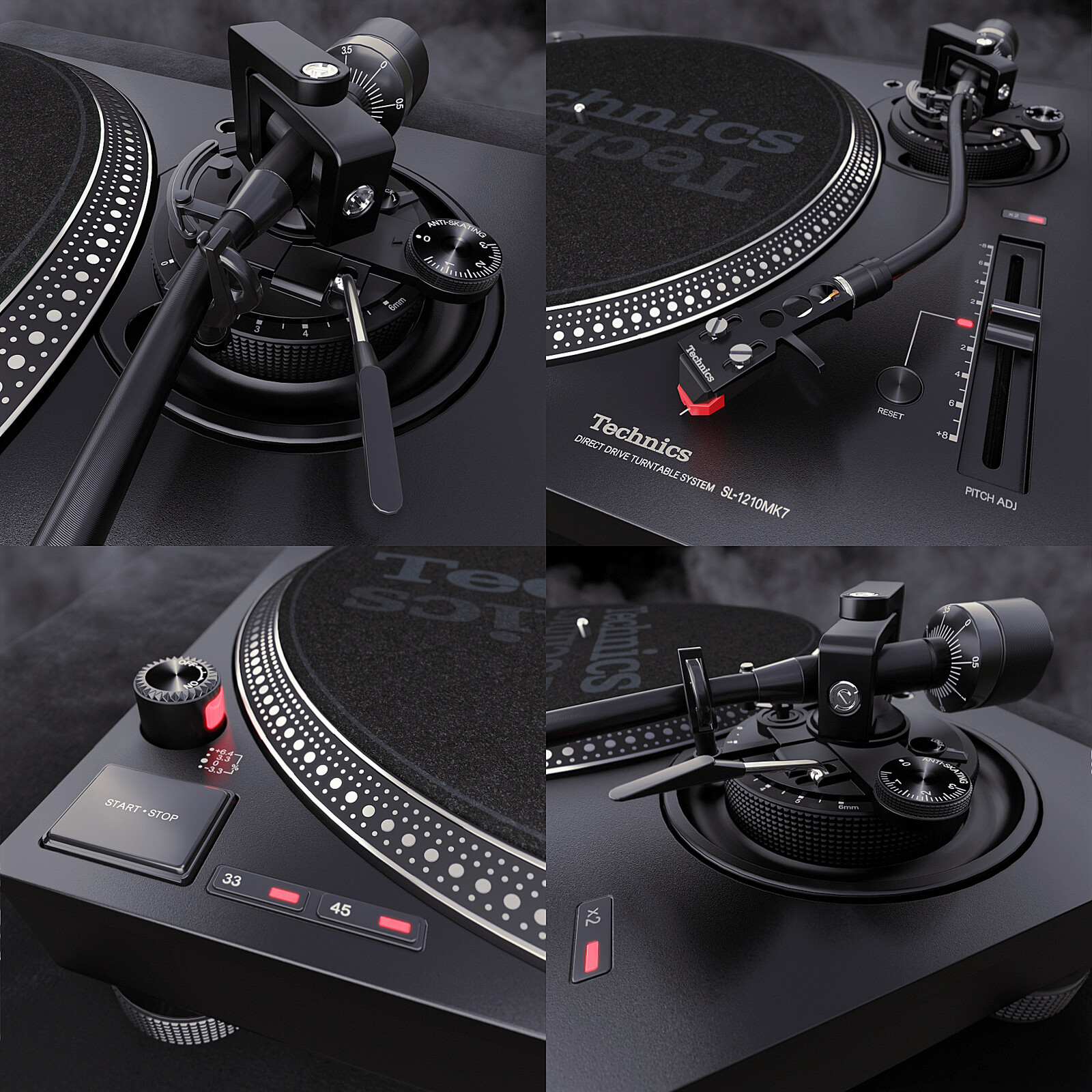 Close-ups from my modeling work on the Technics turntable.