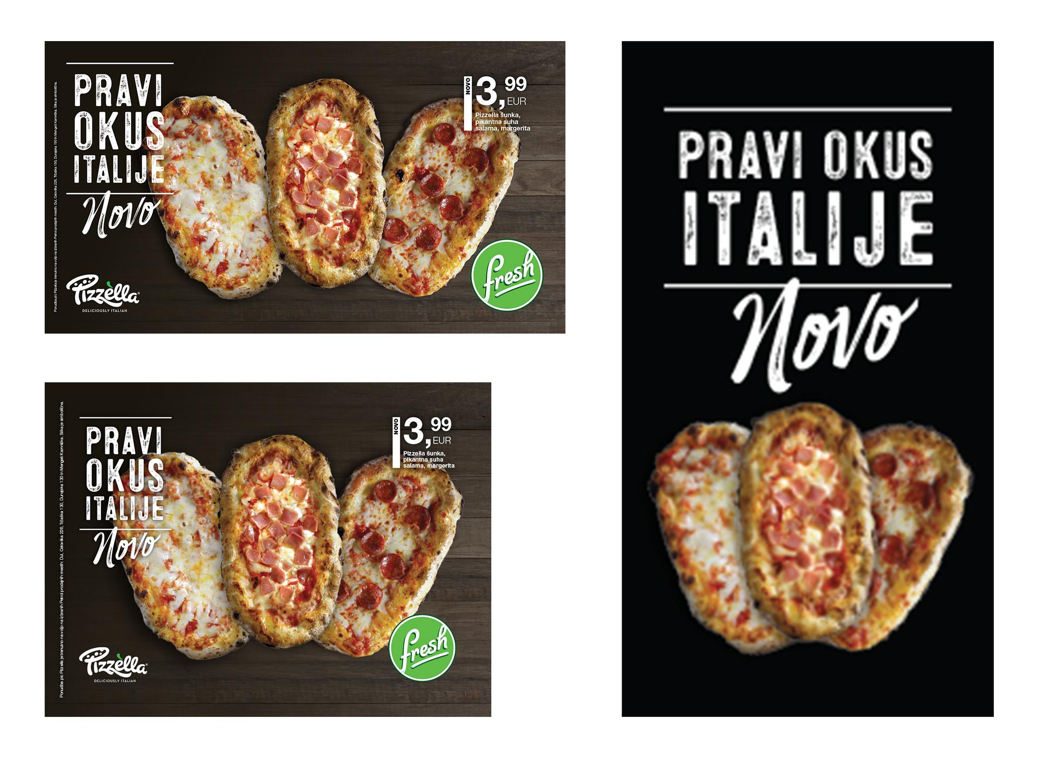 Dizajn kreative, ki sem ga oblikoval za nov produkt Pizzella. Prikazani formati so: dva različna LCD-ja ter totem, ki je postavljen pred bencinsko črpalko.