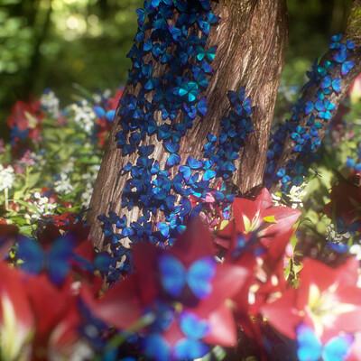 Blue Morpho Butterflies 3D Renders