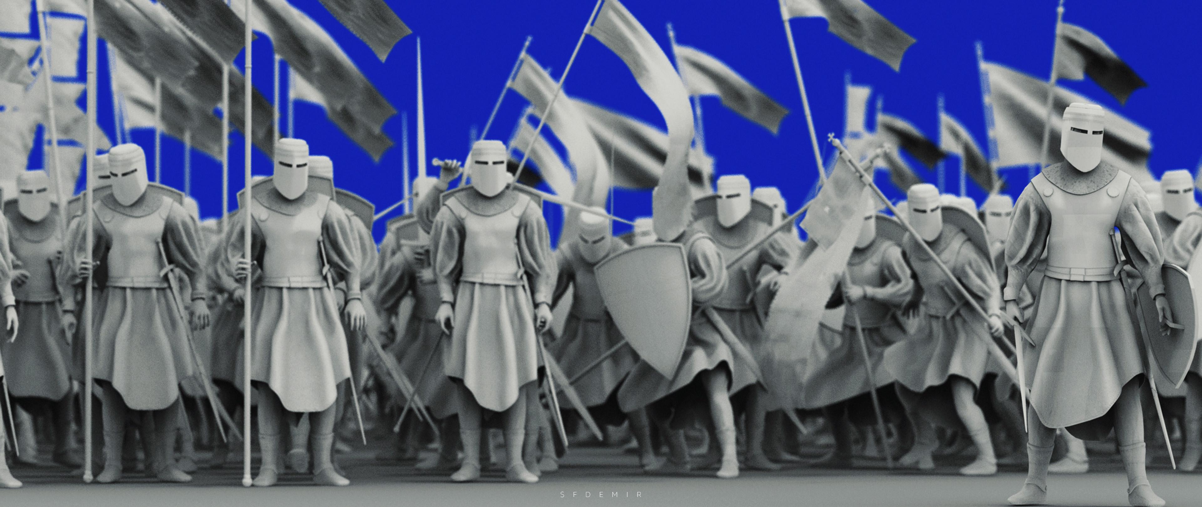 Preparing For War Scene - Shot 01 - Clay Render