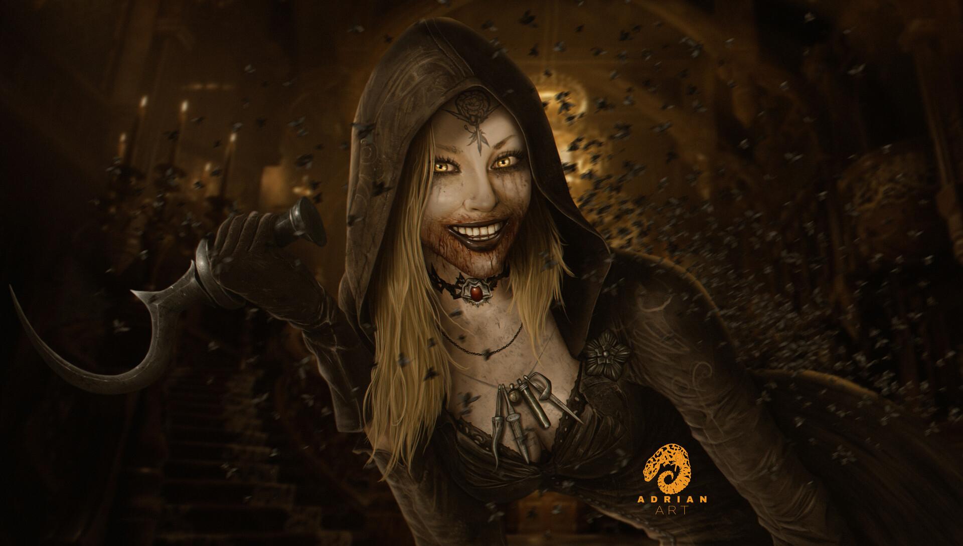 Filha da Dimitrescu (Bela) vs Marguerite Baker Adrianart-vampira