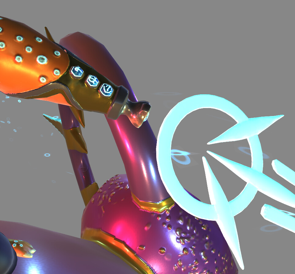 A close up look at the weapon symbols of the princess' Cyber Gauntlet
