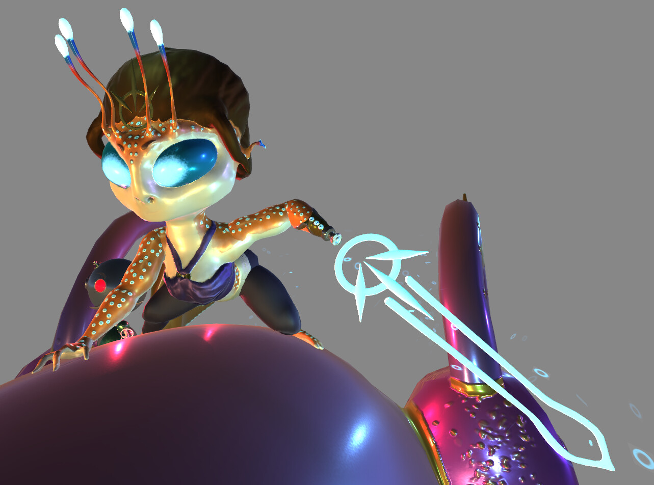 A full view of her photon sword with particles visible
