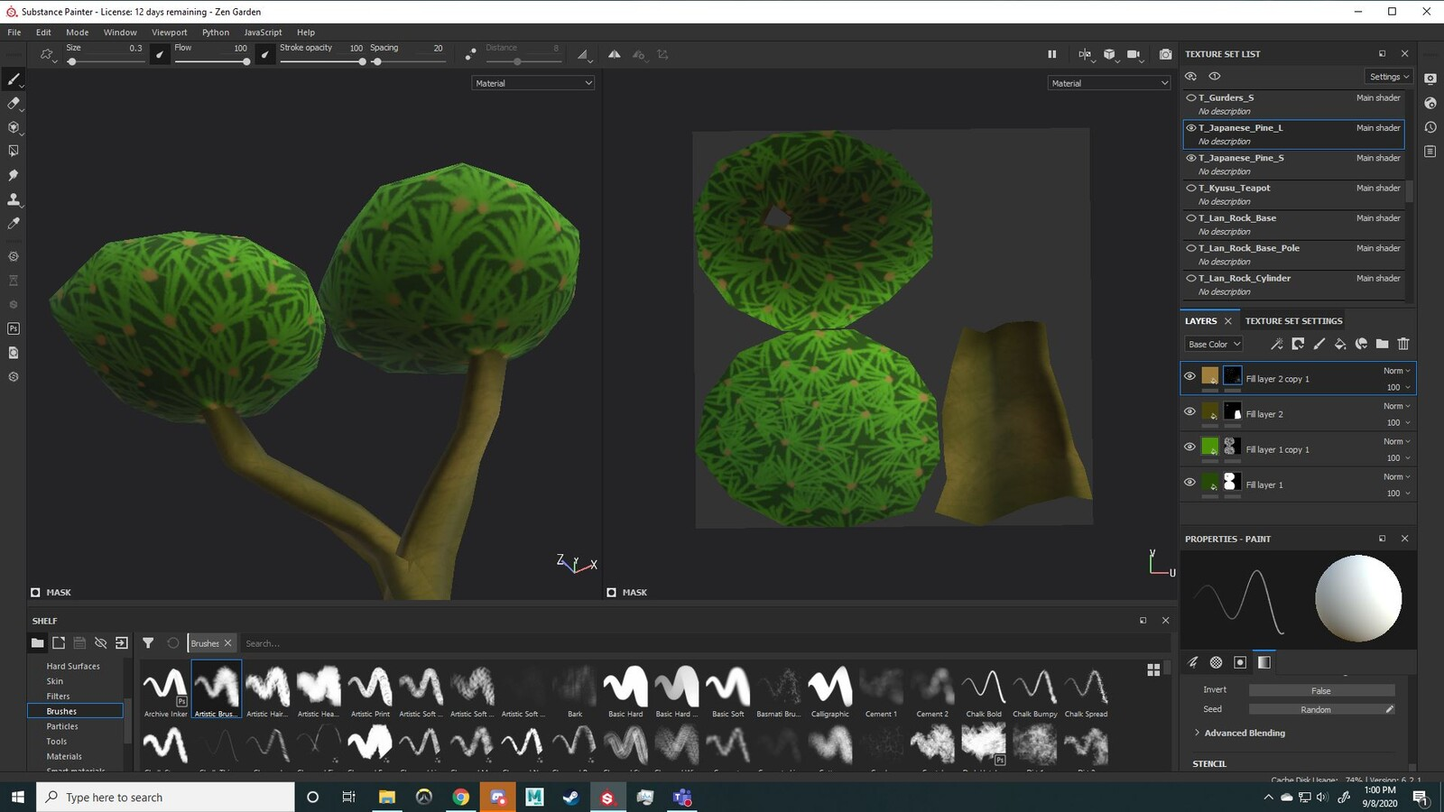 texturing a Japanese maple stylized