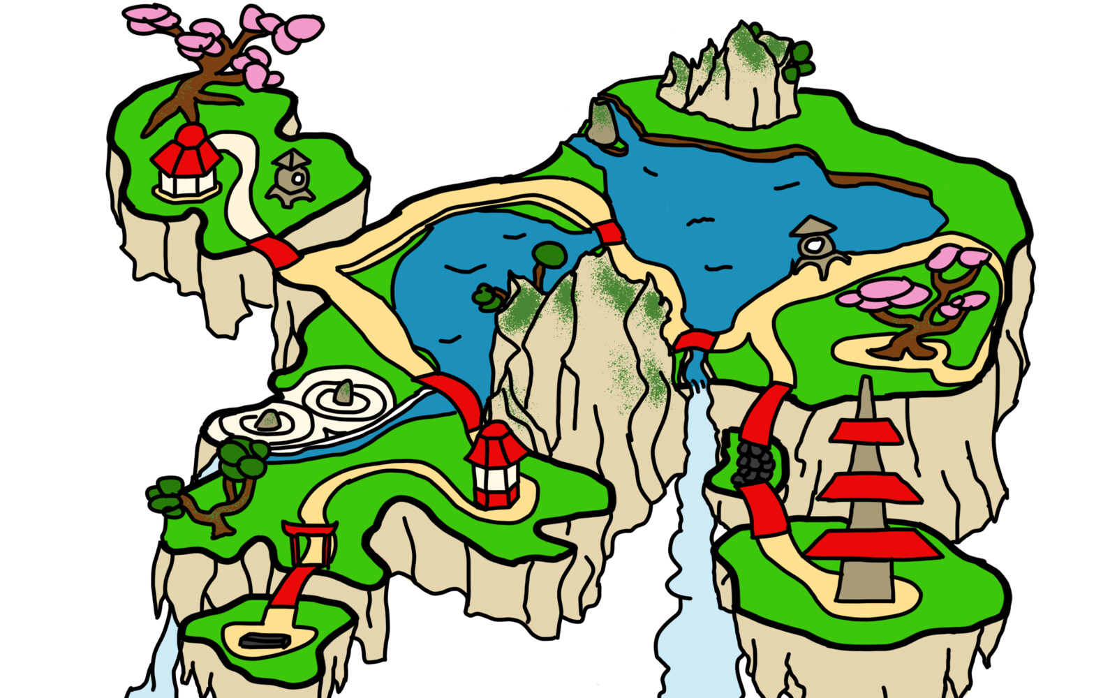 A map of the original layout of the gardens