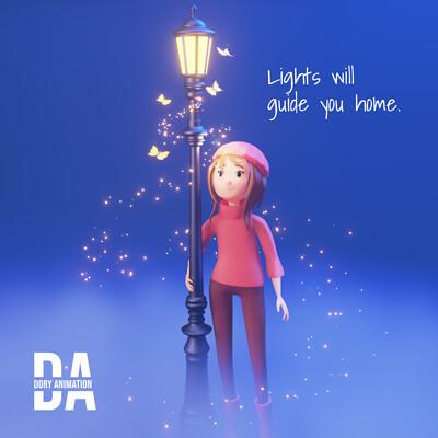 Doriana pompili girl streetlamp grafica