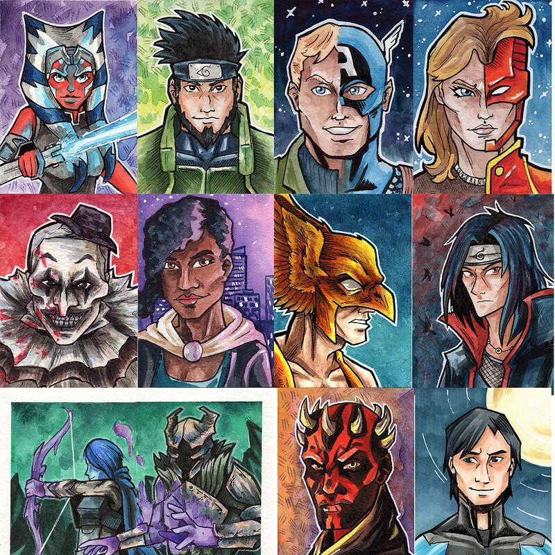 Fan Art Portrait Sketch Cards