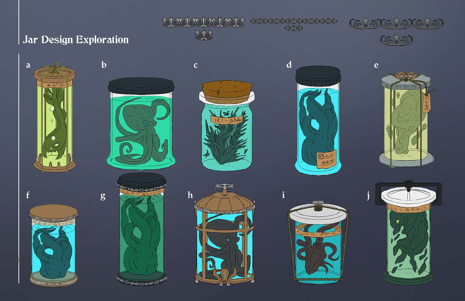I wanted to explore the ideas of a more detailed and story designed jar element. I was thinking of gameplay and that the player would find a collectible or a special jar with a story related specimen inside.