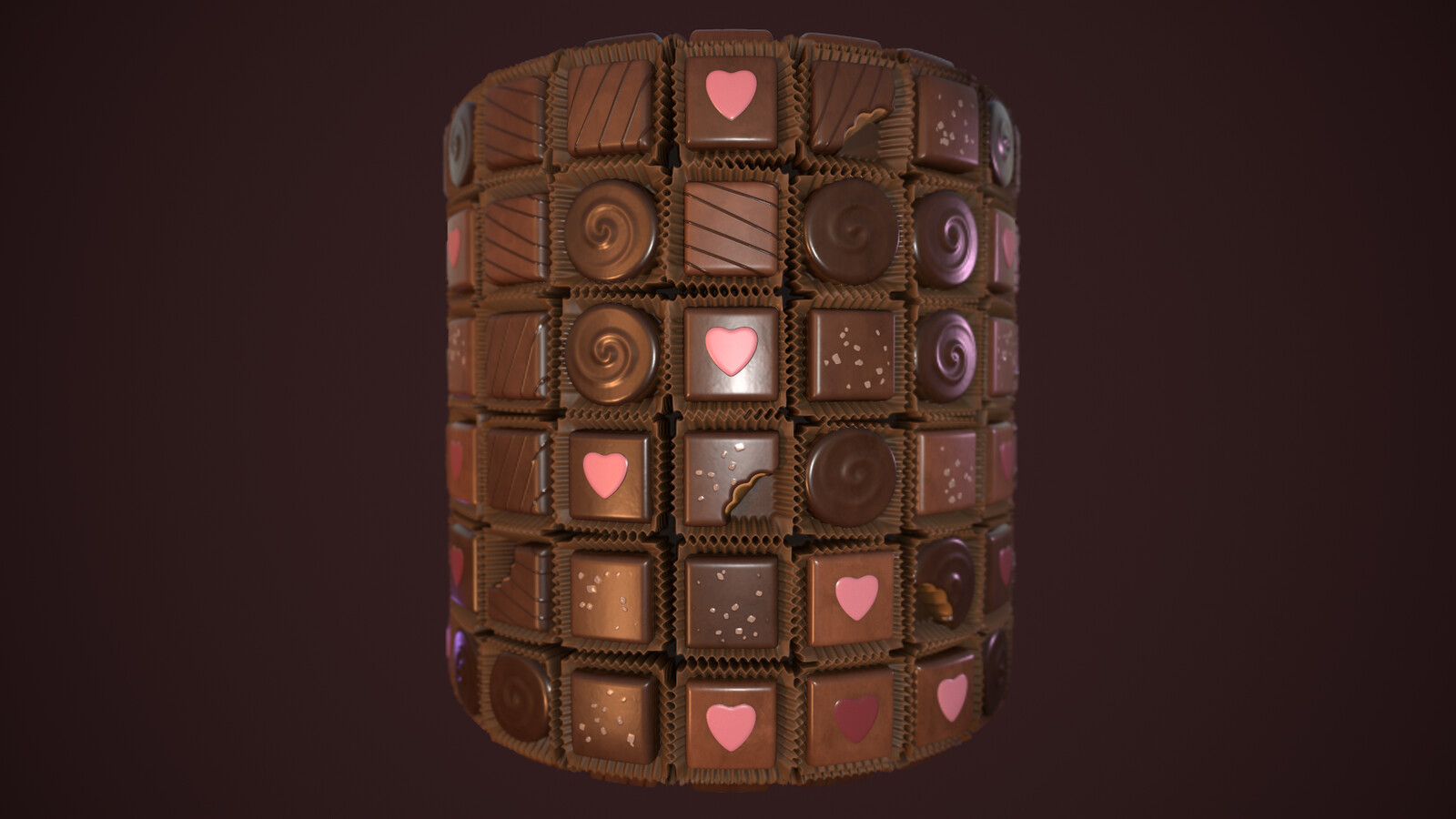 Cylindrical Render of Chocolate material