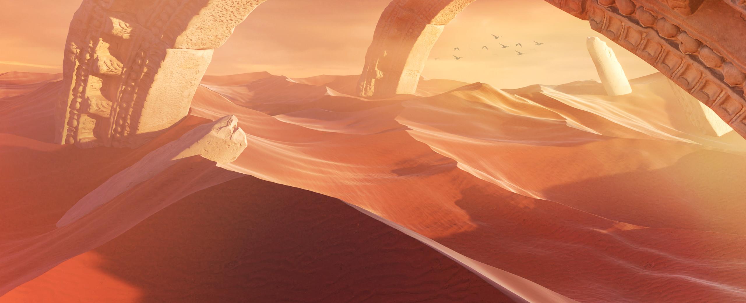 Desert dunes ruins environment evening lighting