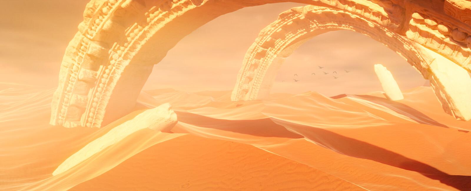 Desert dunes ruins environment midday lighting