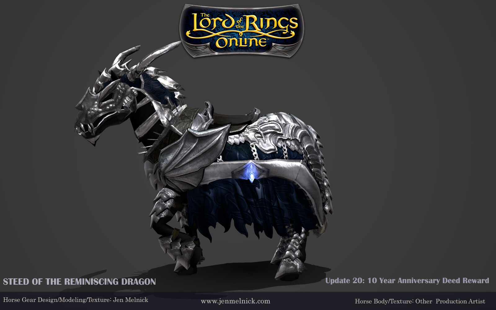 10 Year Anniversary Mount (2017) Steed of the Reminiscing Dragon (Silver Deed Variant)  Marmoset Render