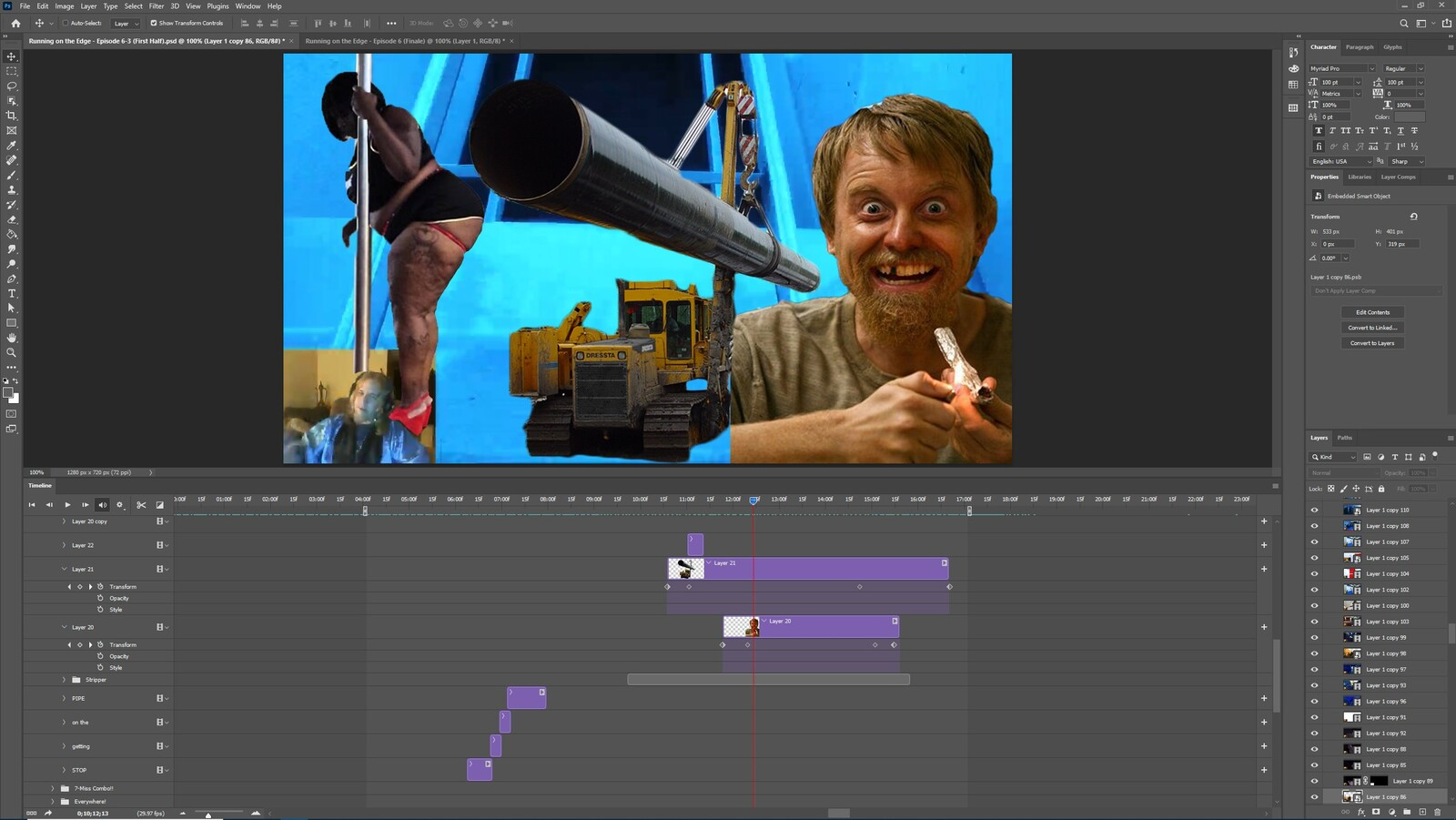 """The """"Get Off the Pipe"""" visual effect within Photoshop video editor"""