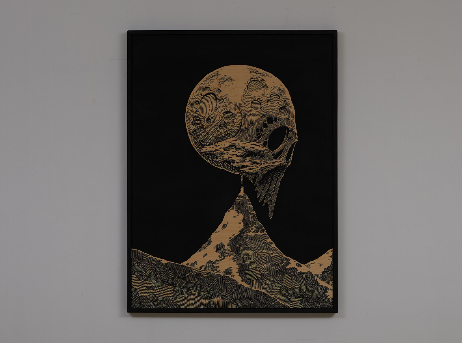 Blue Moon. 2020. Marker on wooden panel, 122 x 80 cm.