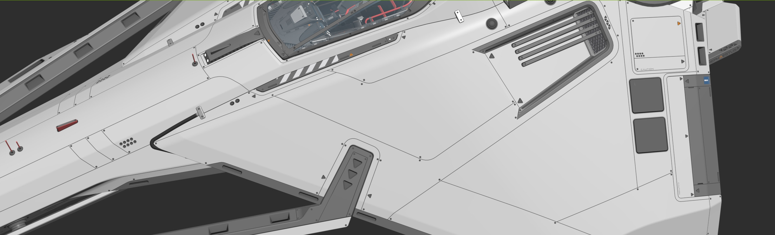 Screenshot of the ship exterior in Max with panel lines applied.