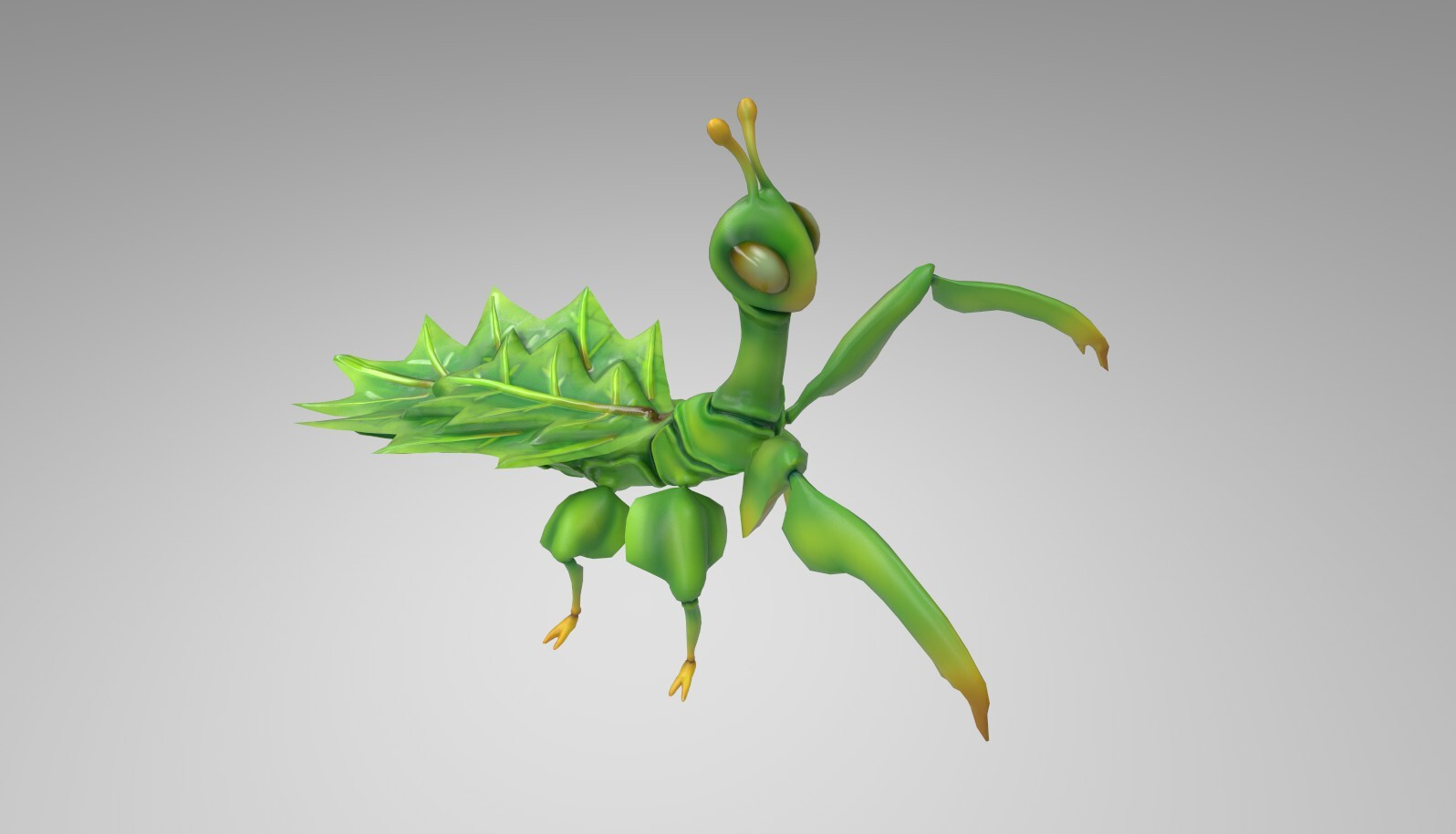Leaf insect textured: green variant. Iray render.