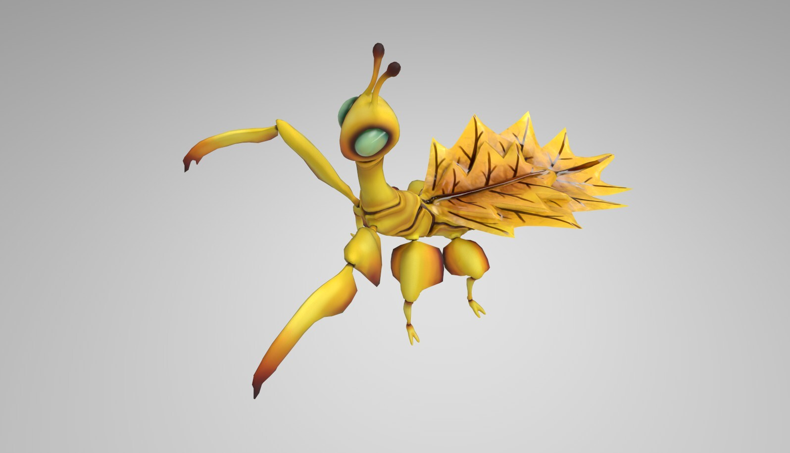 Leaf insect textured: yellow variant. Iray  render,