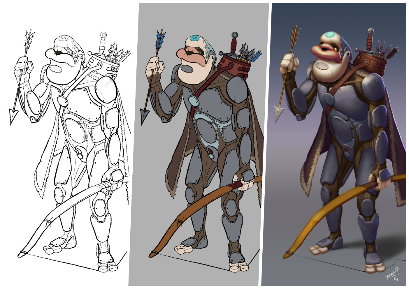 Line art first then flat color, then a lot shading, lighting and polish