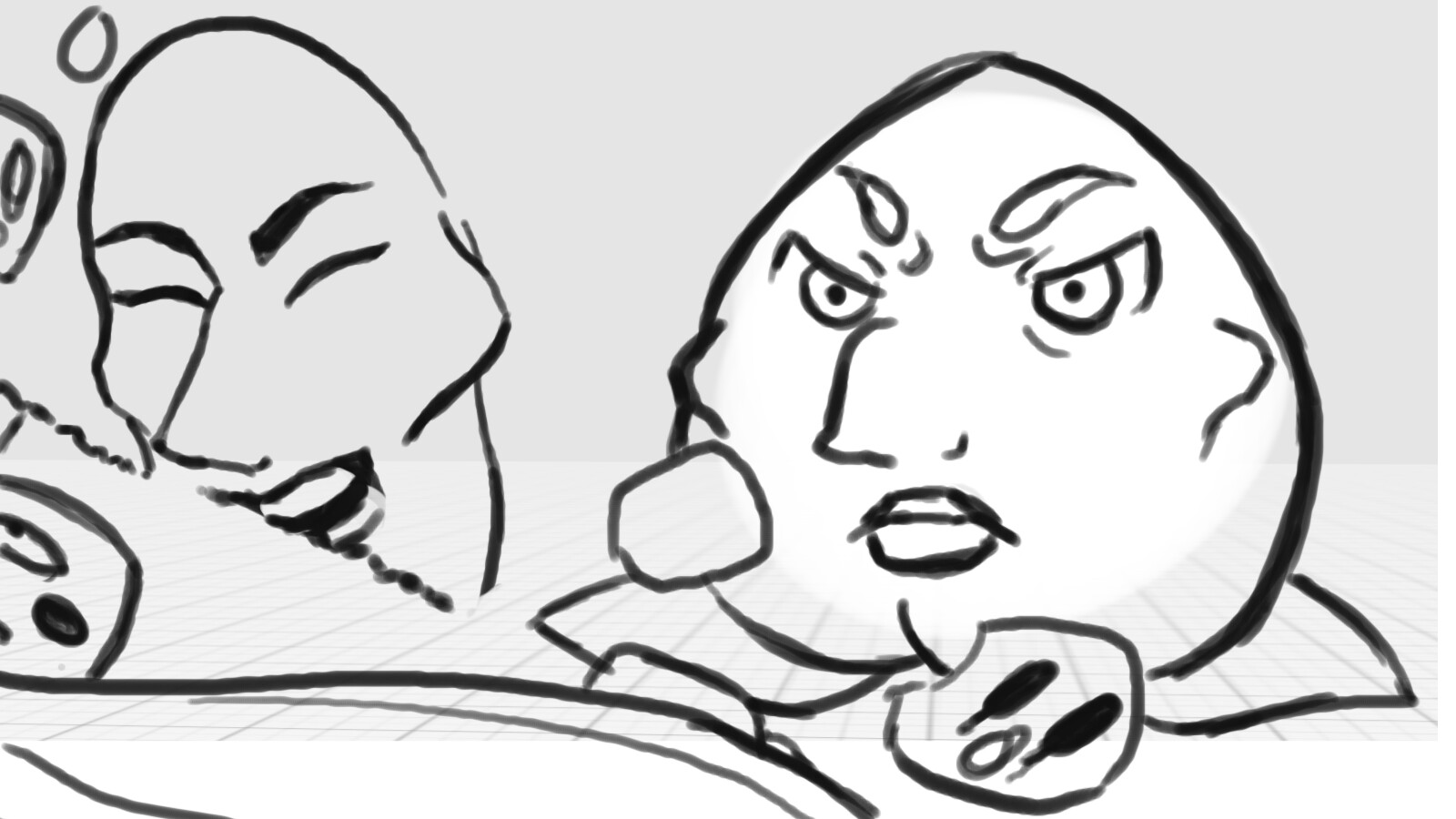 The uncoloured cutscene to the impending boss fight against Chad Pickle's ex-friend and ruler of the Supermarket Grocery Aisle-dom, Prince Peach (Any similarities to people or characters are purely coincidental... maybe)