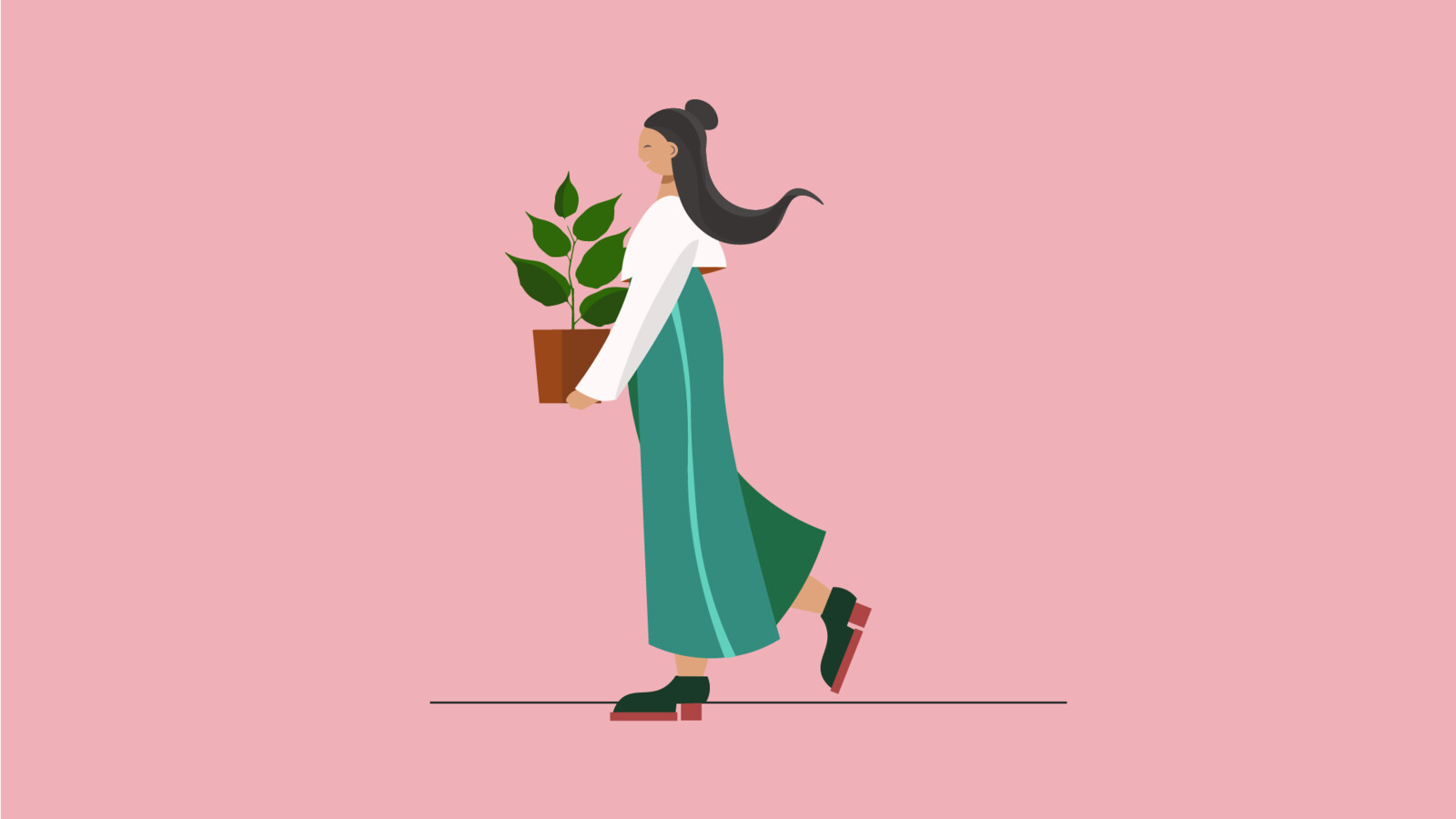 Woman and plant by illustrator