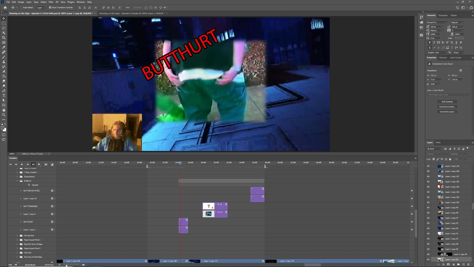 """The """"Butt Devastated"""" visual effect within Photoshop video editor"""