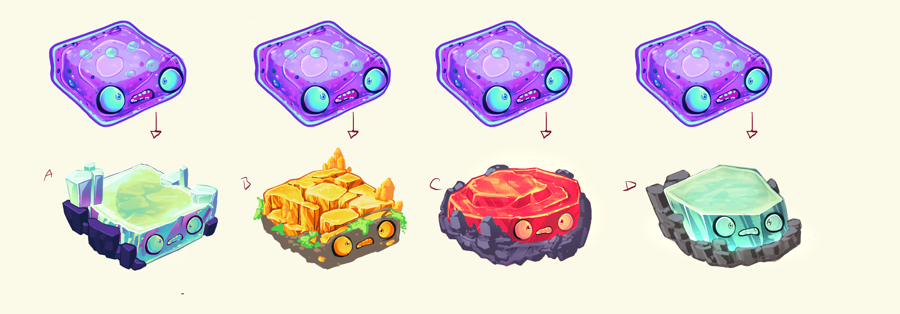 Ideations for Neo Cortexs' weapon. At this point it was clear that they needed a solid and jelly version so there were some options.
