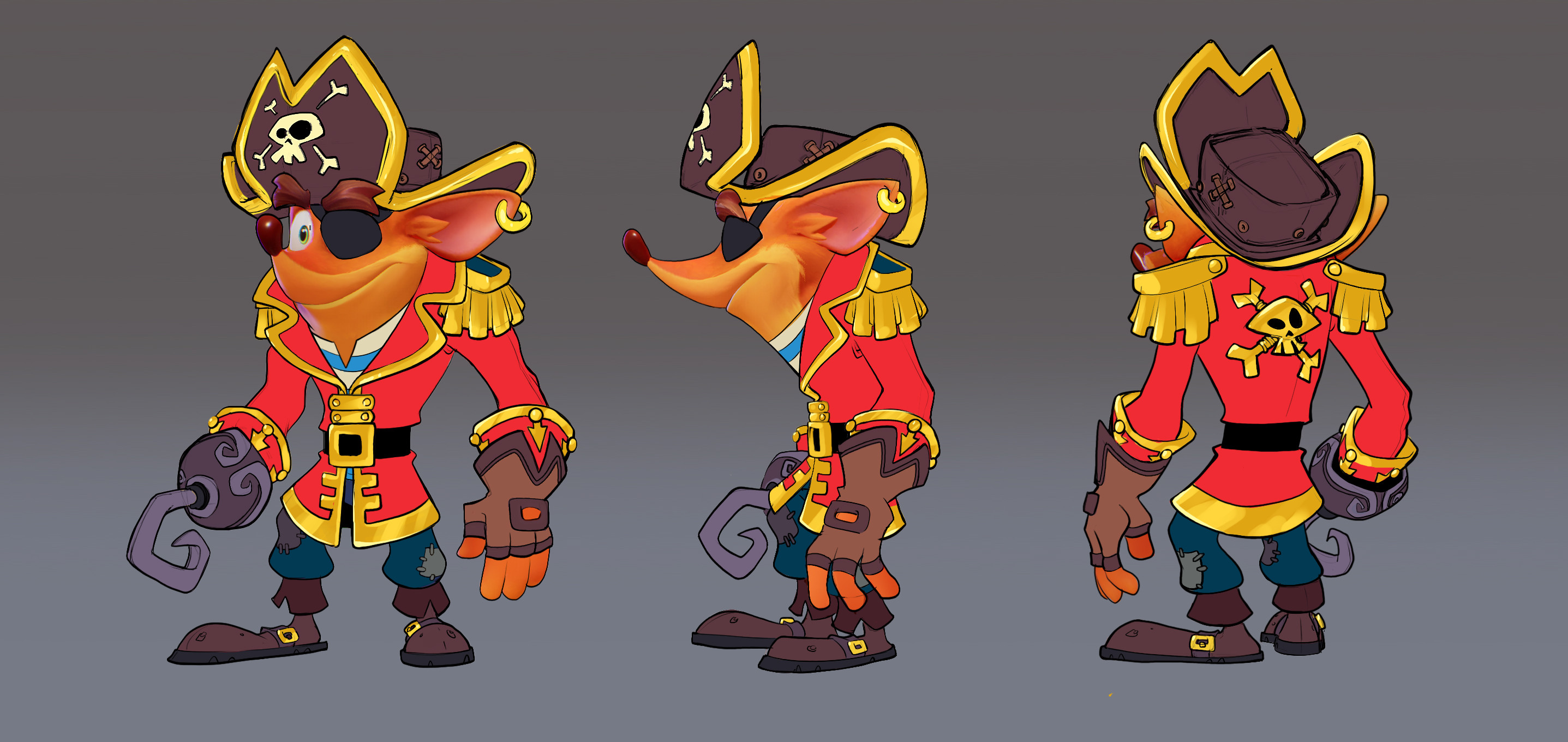 Final Crash Pirate Skin Concept: Minimal rendering requested due to time constraints.