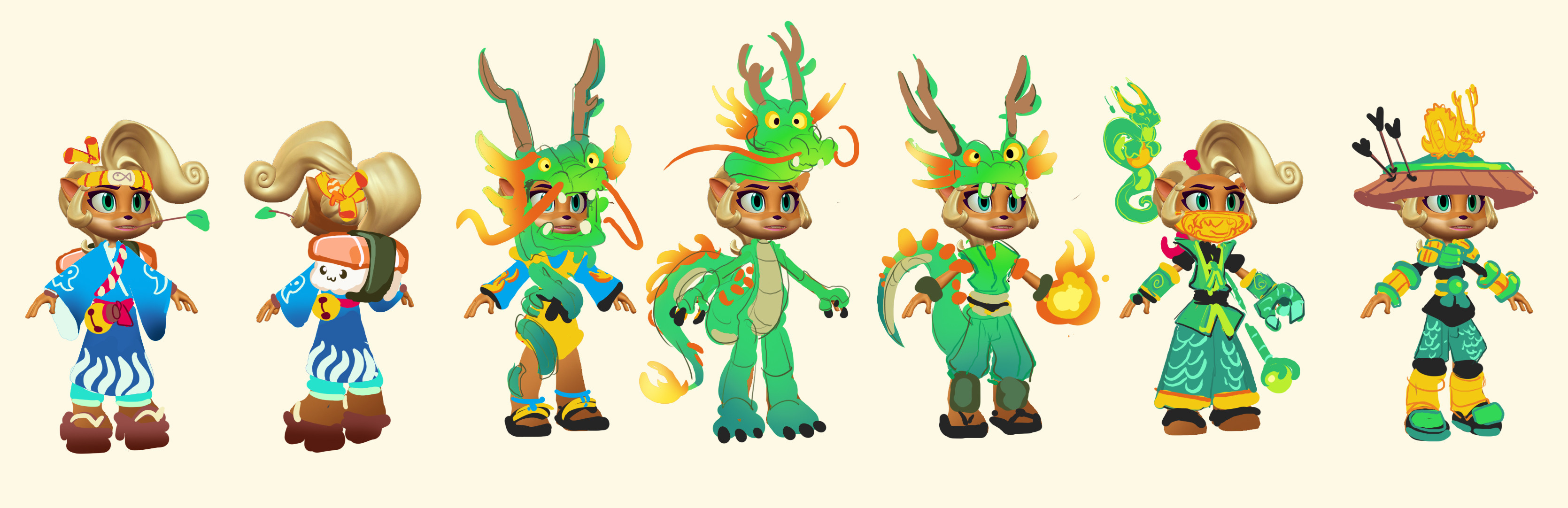 Early Coco ideation - Team wanted to go with something more fantasy based, so I tried a dragon theme that went from full animal to ninja style left to right.