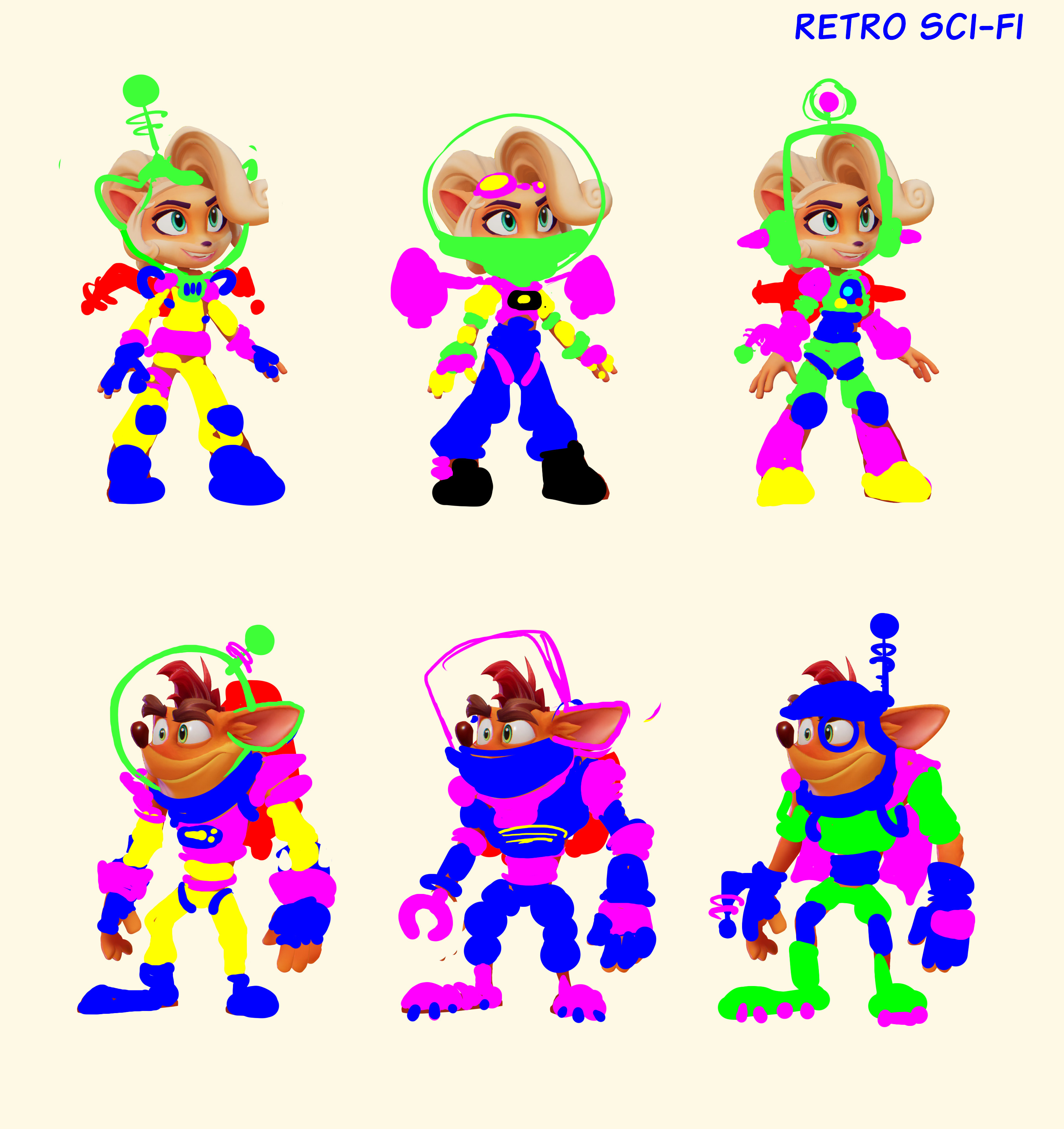 Neon Blobbys for show. Never proceeded with Crash versions.