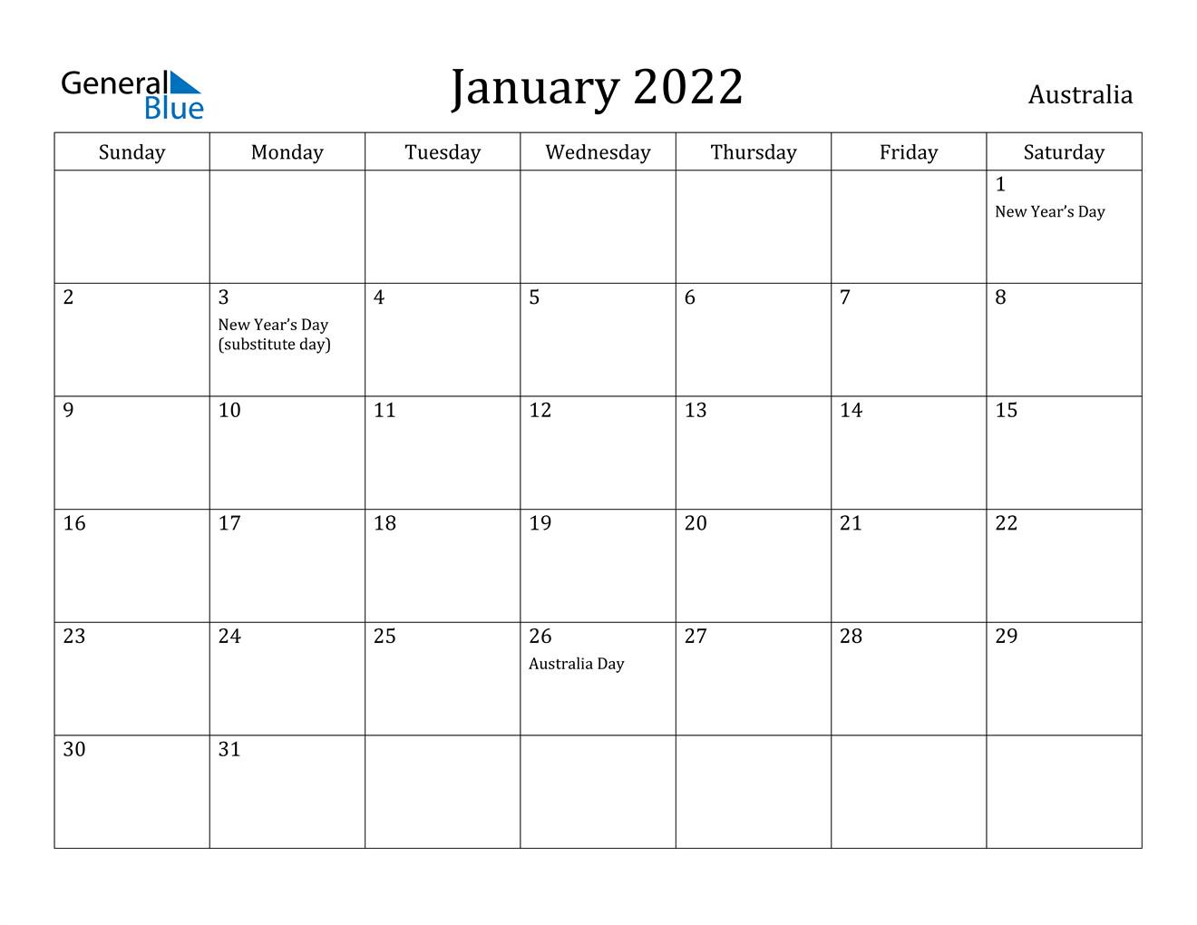 Blank January 2022 Calendar Template