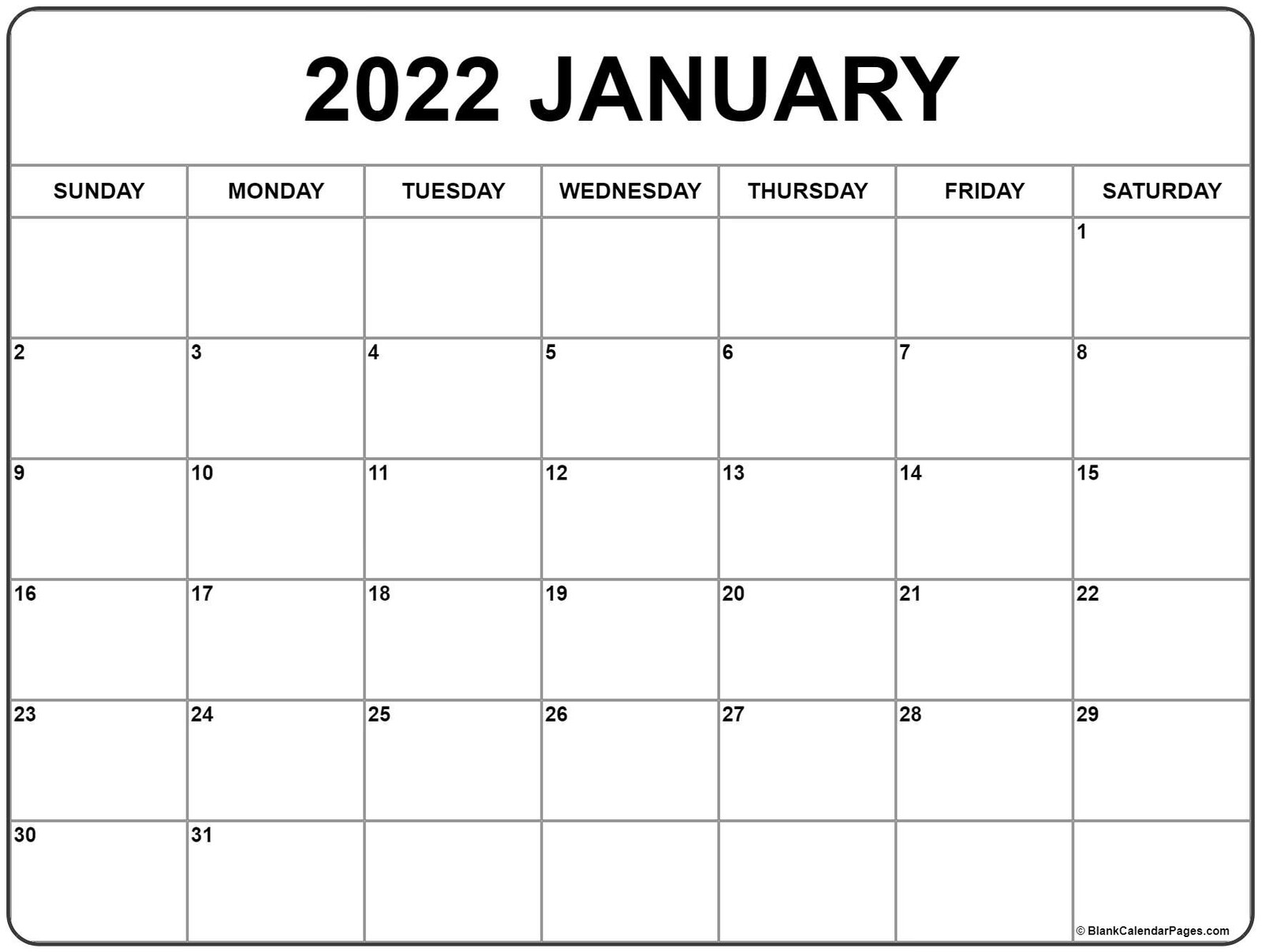 Blank Calendar Pages January 2022 calendar | free printable calendar