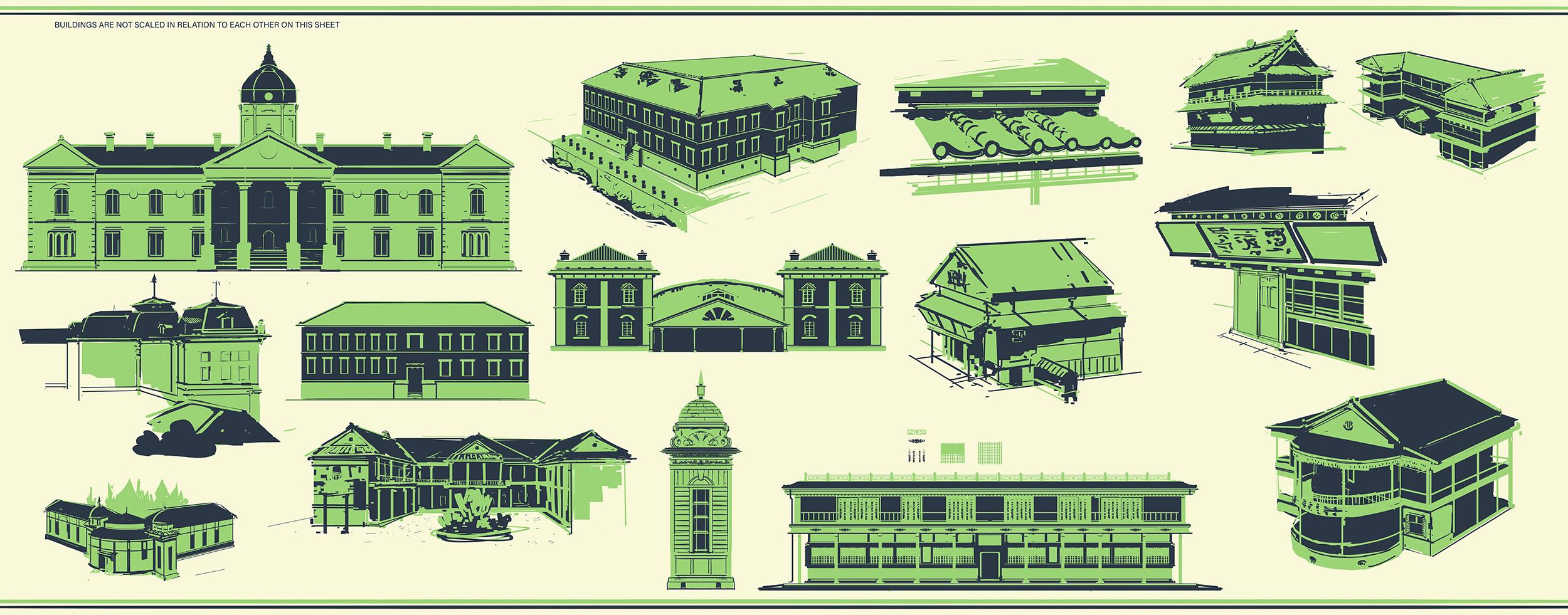 quick two-tone breakdowns of additional architecture outside of Dejima