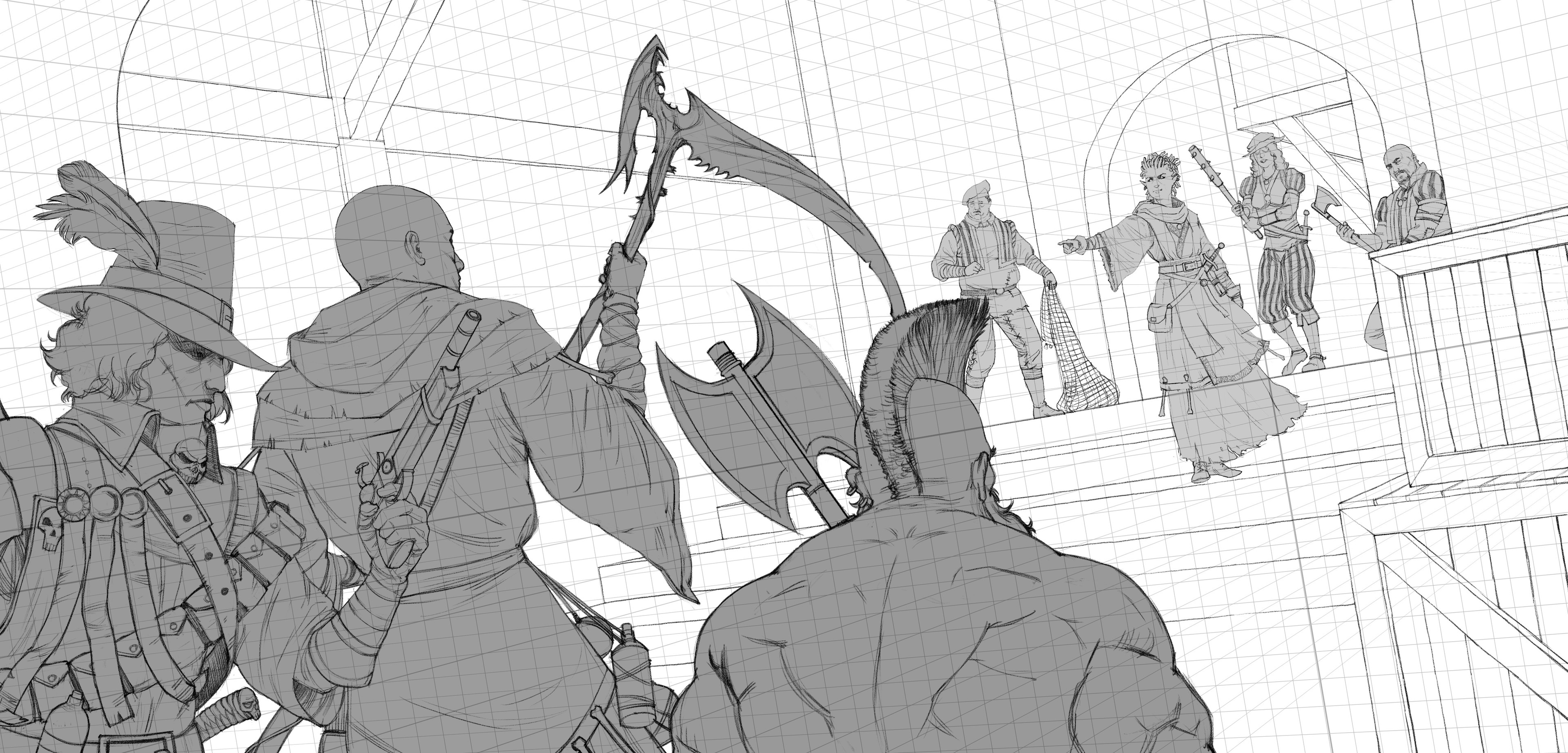 tighter sketch based on approved thumbnail