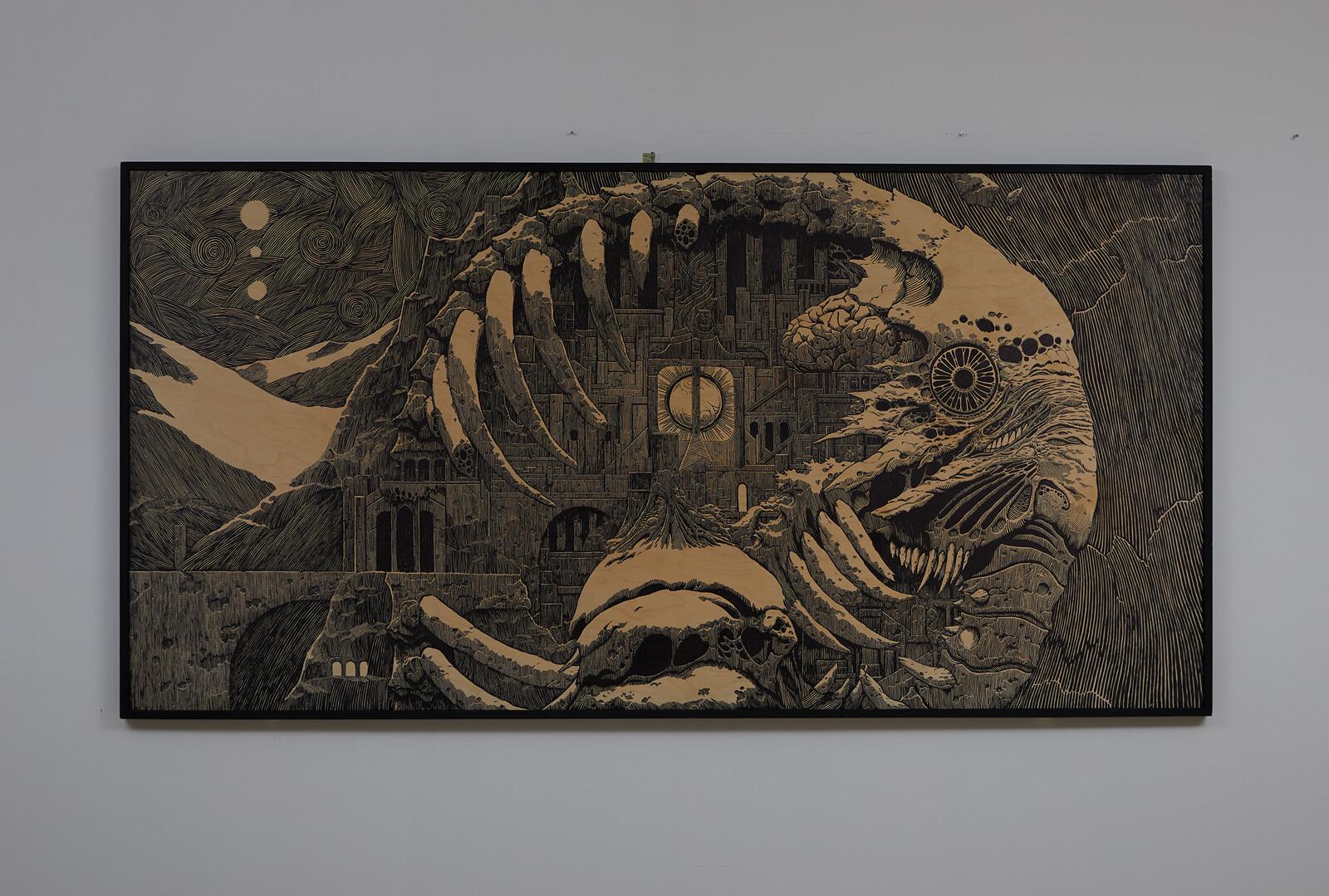 Ancestor Alive. 2020. Marker on wood panel, 122 x 244 cm.